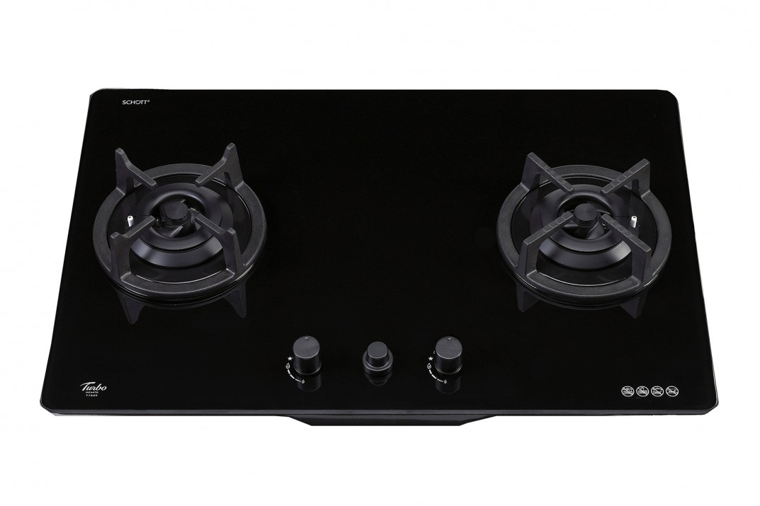 TURBO INCANTO 76CM 2 BURNERS T7629G-BK BLACK COLOUR GLASS HOB