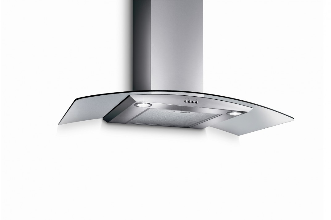 TURBO INCANTO 90CM T-ARCH-90SS CHIMNEY HOOD WITH GLASS PANEL